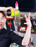 Barman in action Royalty Free Stock Photography