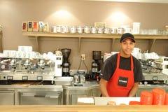 Barman in Aroma Espresso Bar Royalty Free Stock Image