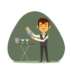 Barman avec le dispositif trembleur illustration stock