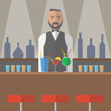 Barman in the bar. Vector illustration Stock Images