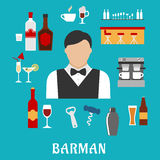 Barman and bartender flat icons Royalty Free Stock Photo