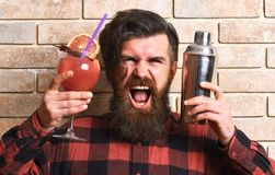 Barman with beard, stylish hair and shouting face. On light brick wall background. Man holds glass, delicious cocktail with orange, straw and shaker. Lets party Stock Image