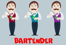 Funny vector cartoon bartender making a cocktail drink in shaker. Barman character at work. Hand drawn man with mustache. Mascot f vector illustration