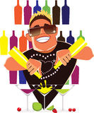 Barman on cocktail party mix alcohol drinks, barman in work. Vector illustration of barman in work Royalty Free Stock Photo
