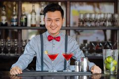 Barman at the counter Royalty Free Stock Images