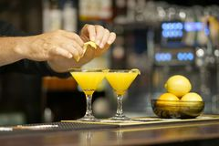 Cocktail on the bar. Close-up. royalty free stock images