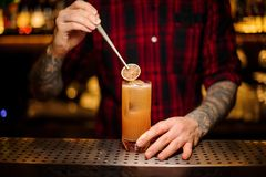 Barman decorating fresh orange lemonade cocktail with a slice of stock photography