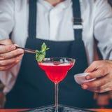Barman dekoruje koktajl przy klubem nocnym Życia nocnego i rozrywki pojęcie zdjęcia royalty free