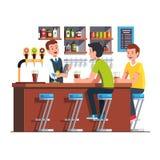 Barman dienende cliënt Barman die cocktail maakt royalty-vrije illustratie
