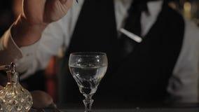 Barman dodaje woń suszyć Martini koktajl zbiory wideo
