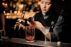 Barman dziewczyna nalewa wyśmienicie brązu koktajl od stalowej osadzarki fotografia royalty free