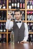 Barman Egzamininuje Białego wino W szkle Przy sklepu kontuarem Obraz Royalty Free