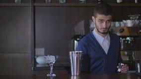 Barman employant des cocktails et des boissons d'un mélangeur de secousse dans la boîte de nuit, la barre ou le bar banque de vidéos