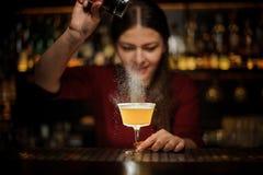 Barman féminin de sourire versant une épice au cockta délicieux photo stock