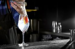 Barman faisant à genièvre de pamplemousse le cocktail tonique au compteur dans le bar, plan rapproché photo stock