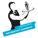 Barman gewild vectorzegel Stock Afbeelding