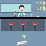 Barman in his bar. Illustration of a bar with a barman Royalty Free Stock Photos