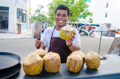 Barman holds chopped coconut Royalty Free Stock Images