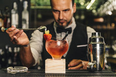 Free Barman Is Making Cocktail At Night Club Royalty Free Stock Images - 60330269
