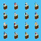 Barman Isometric Icons illustration libre de droits