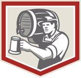 Barman Lifting Barrel Pouring Beer Mug Retro Stock Images