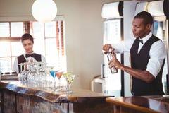 Barman mélangeant une boisson de cocktail dans le dispositif trembleur de cocktail photo libre de droits
