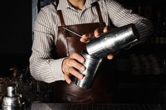 Barman makes cocktails with a shaker. Stock Photo
