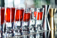 Barman makes shots in a bar Stock Images