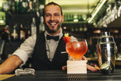 Barman is making cocktail at night club Royalty Free Stock Photo