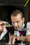 Barman is making a cocktail Royalty Free Stock Photos