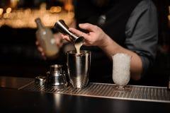 Barman nalewa wyśmienicie alkoholicznego napój od stalowej osadzarki potrząsacz zdjęcie royalty free