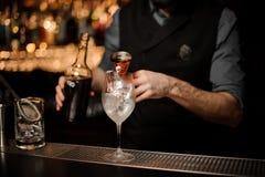 Barman nalewa wyśmienicie koktajl od stalowej osadzarki zdjęcie royalty free