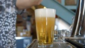 Barman pełni kubek z piwem zdjęcie wideo