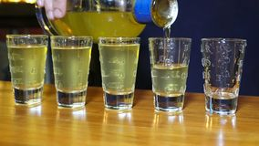 Barman pouring alcohol to five shots close up. Barman pouring alcohol to the five shots close up stock video