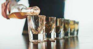 Barman Pouring Alcoholic Drink in Geschotene Glazen stock videobeelden