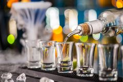 Barman pouring hard spirit into glasses Royalty Free Stock Images