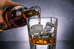 Barman pouring whiskey with ice cubes in glass on black background, cold atmosphere Royalty Free Stock Photography