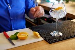Barman preparing alcoholic cocktail for customer Royalty Free Stock Photos