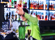 Barman professional making cocktail Stock Images