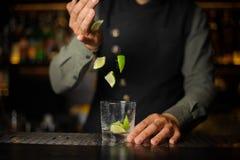 Barman que adiciona partes de cal no vidro de cocktail processo Fotos de Stock Royalty Free
