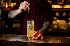 Barman remuant le cocktail alcoolique frais avec le concombre et le genièvre image libre de droits