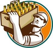 Barman Retro Carrying Beer Case Royalty-vrije Stock Afbeeldingen