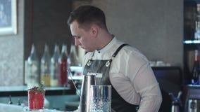 Barman robi koktajlowi i dekoruje zbiory