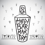 Barman's day illustration with shaker and glasses Stock Photography