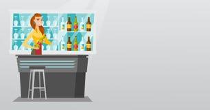 Barman se tenant au compteur de barre Photo stock