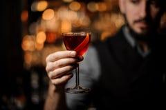 Barman servant un cocktail rouge transparent dans le verre décoré d'un zeste de citron sur le compteur de barre d'acier images stock
