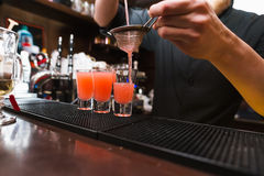 Barman stir alcohol. Process of preparing a cocktail royalty free stock photos