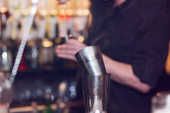 Barman stir alcohol Stock Photo