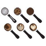 Barman Tool Coffee avec le Latte Art Isolated illustration de vecteur
