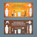 Barman tools banner backdrops templates Royalty Free Stock Photos